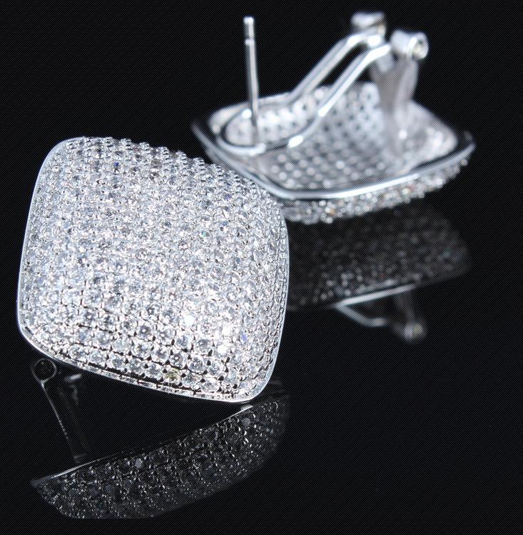 方晶锆石闪亮清新气质女款耳钉